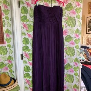 Rouched, strappless purple silk gown